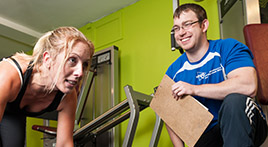 ymca plymouth trainer in gym in personal training session
