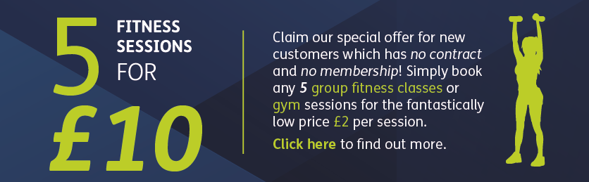 5 classes for £10 offer - click for more information